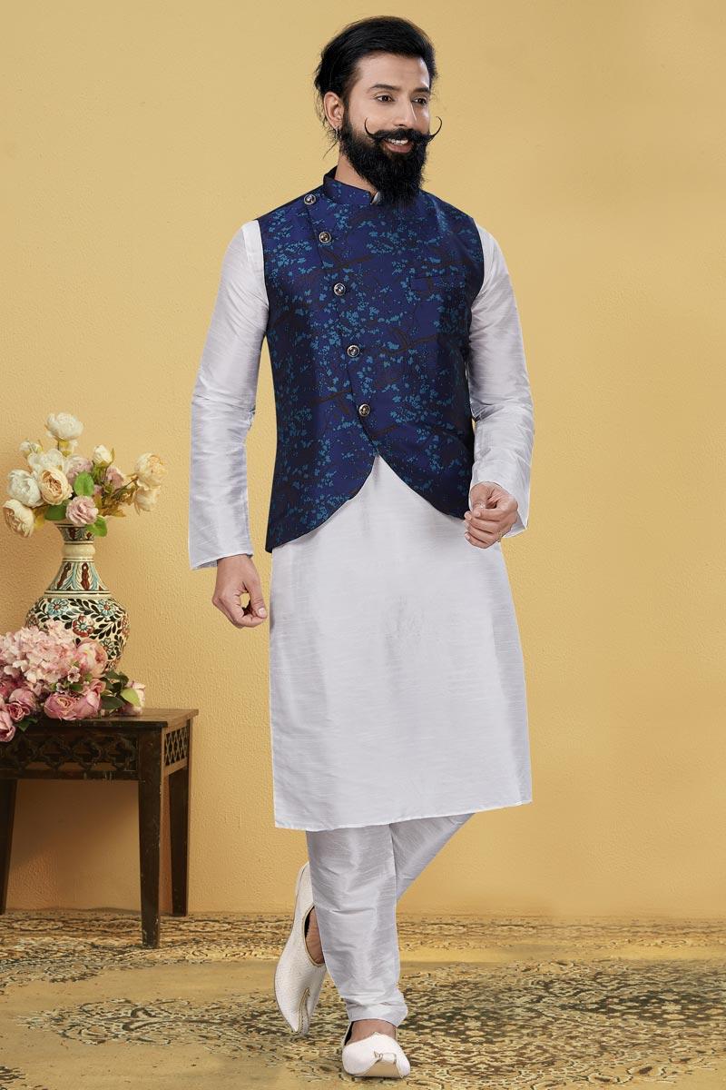 White Color Dhupion Silk Fabric Wedding Wear Designer Kurta Pyjama With Digital Print Jacket