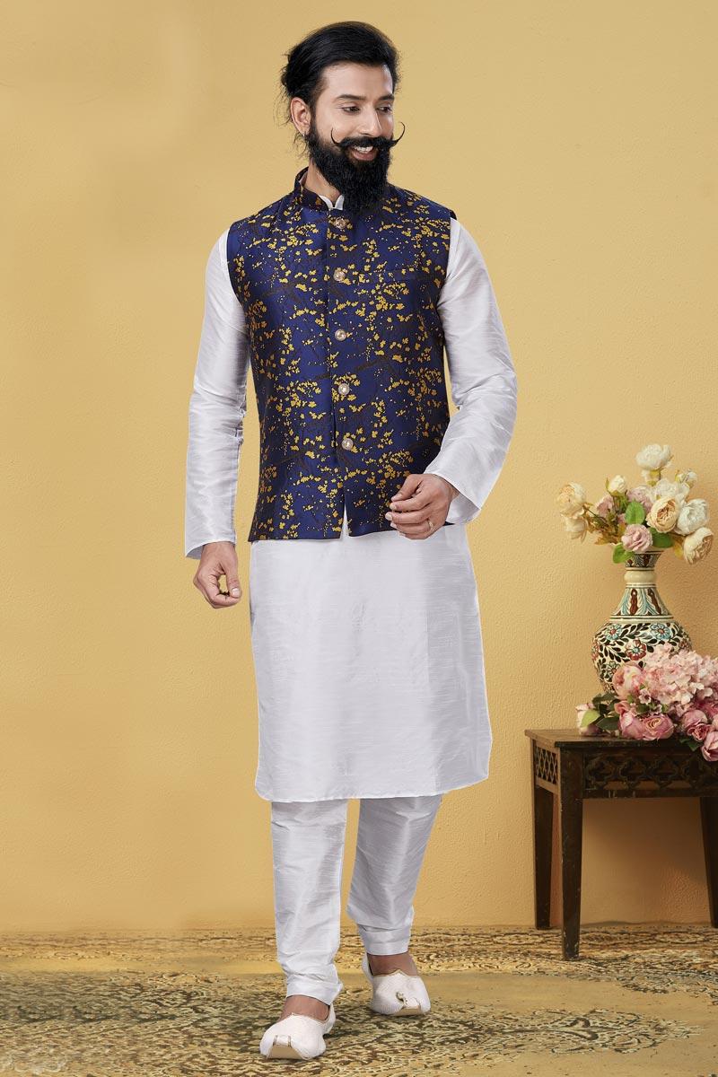 White Color Dhupion Silk Fabric Reception Wear Designer Kurta Pyjama With Digital Print Jacket