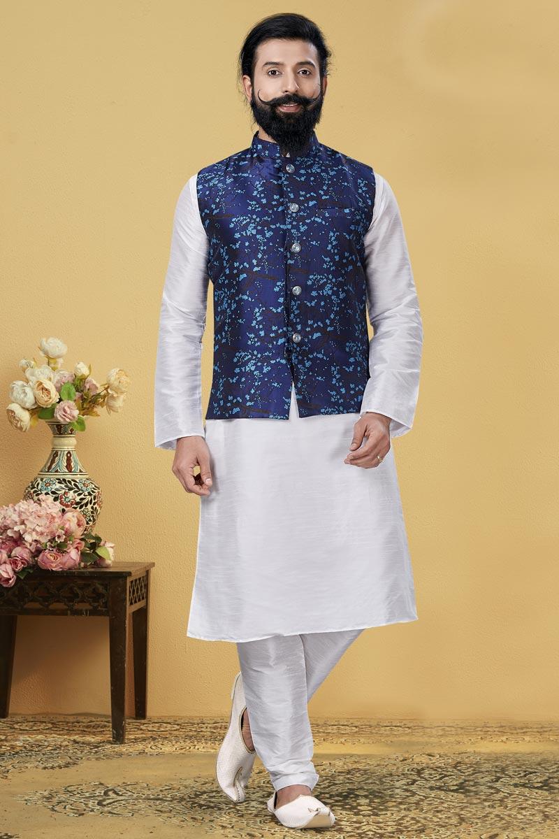 Dhupion Silk Fabric Function Wear Designer Kurta Pyjama With Digital Print Jacket
