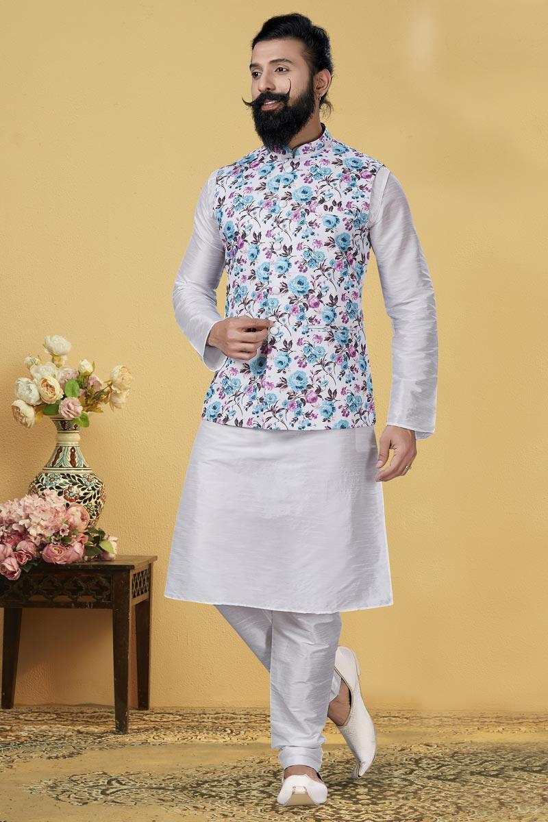 White Color Fabric Sangeet Wear Designer Kurta Pyjama With Digital Print Jacket