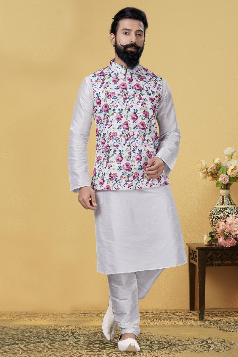 White Color Dhupion Silk Fabric Designer Kurta Pyjama With Digital Print Jacket