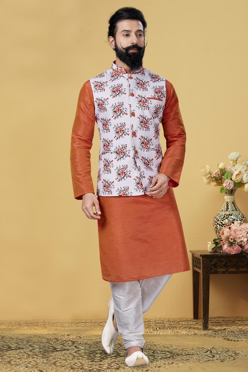 Orange Color Dhupion Silk Fabric Reception Wear Designer Kurta Pyjama With Digital Print Jacket