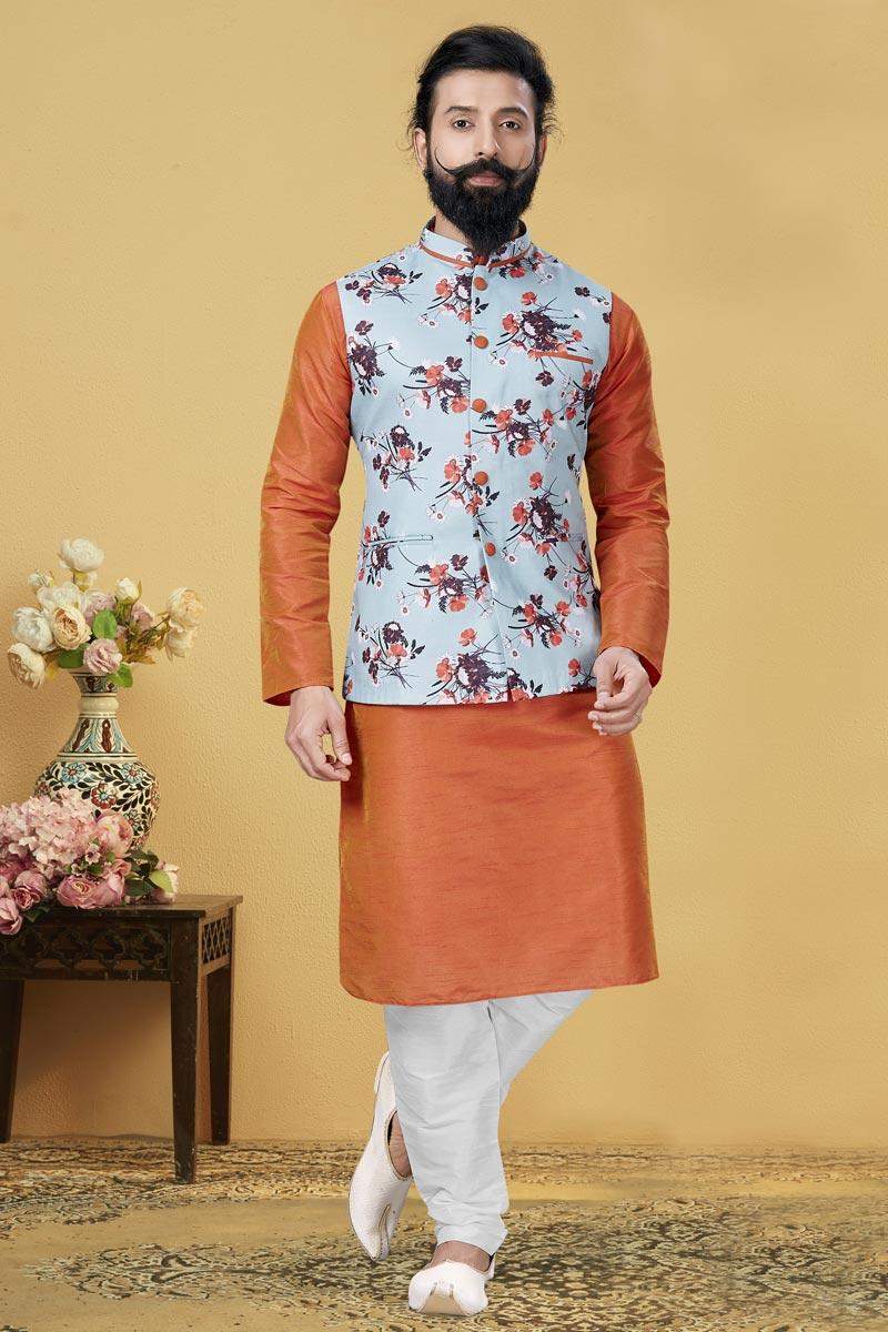 Orange Color Dhupion Silk Fabric Function Wear Designer Kurta Pyjama With Digital Print Jacket