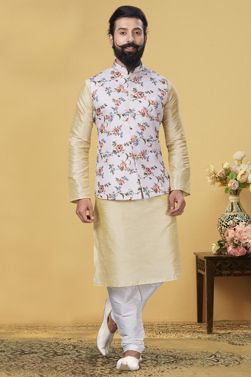 Beige Color Dhupion Silk Fabric Sangeet Wear Designer Kurta Pyjama With Digital Print Jacket