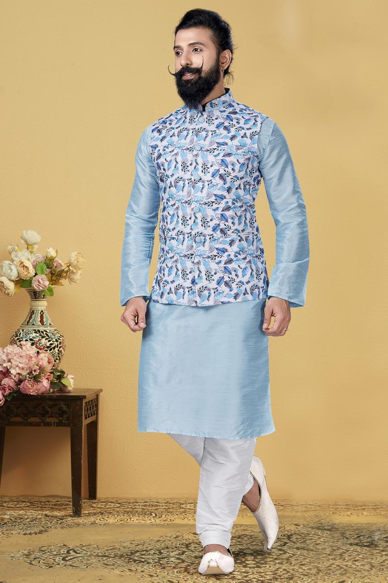 Light Cyan Color Dhupion Silk Fabric Wedding Wear Designer Kurta Pyjama With Digital Print Jacket