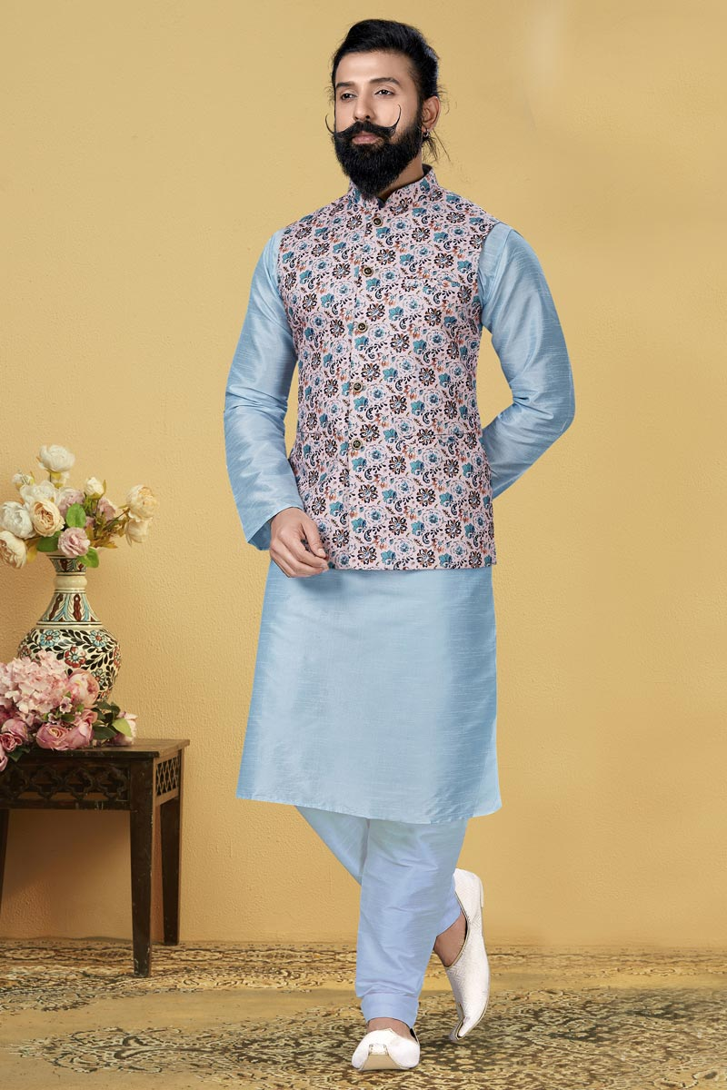 Light Cyan Color Dhupion Silk Fabric Reception Wear Designer Kurta Pyjama With Digital Print Jacket