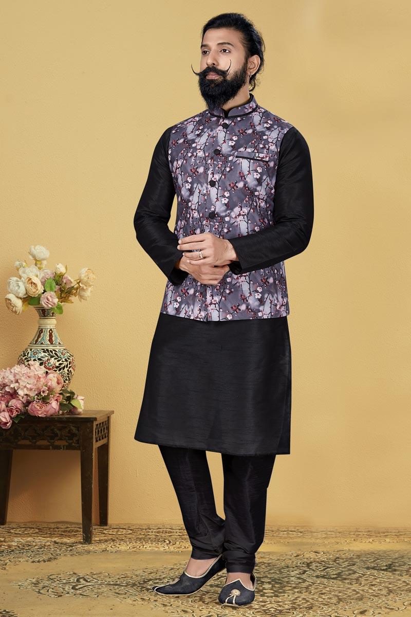 Black Color Dhupion Silk Fabric Function Wear Designer Kurta Pyjama With Digital Print Jacket