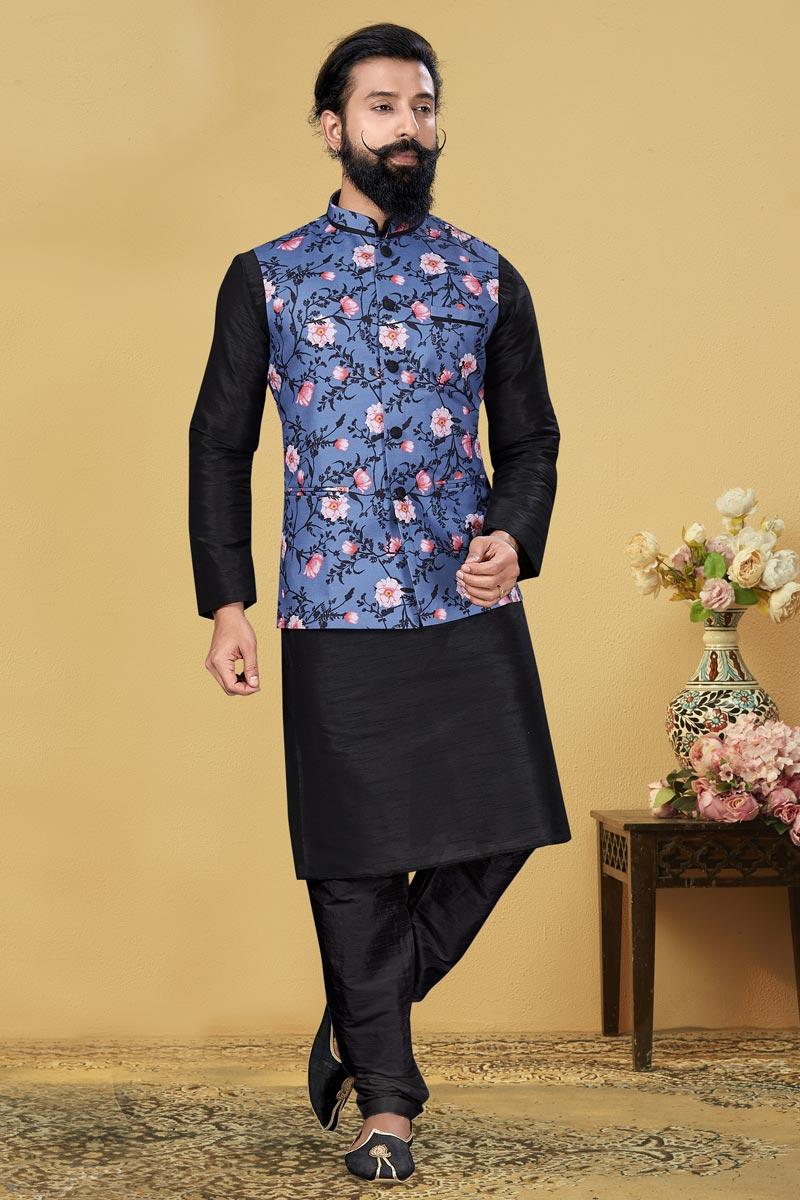 Black Color Dhupion Silk Fabric Sangeet Wear Designer Kurta Pyjama With Digital Print Jacket