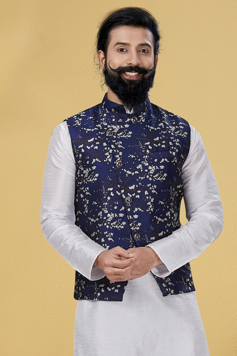 Navy Blue Color Art Silk Fabric Function Wear Designer Digital Print Jacket