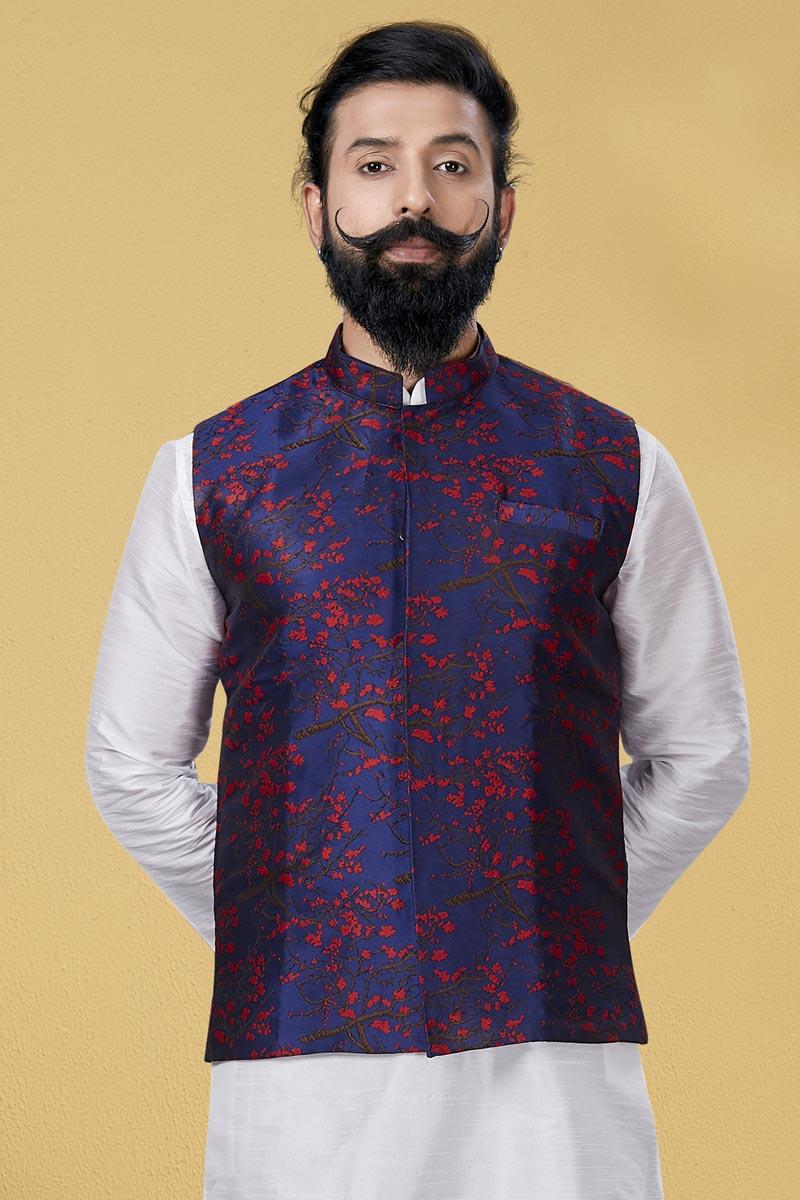 Navy Blue Color Art Silk Fabric Festive Wear Designer Digital Print Jacket