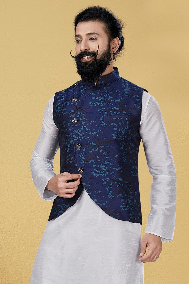 Navy Blue Color Art Silk Fabric Puja Wear Designer Digital Print Jacket