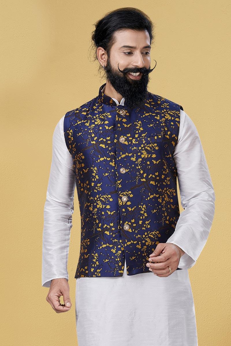 Navy Blue Color Art Silk Fabric Sangeet Wear Designer Digital Print Jacket