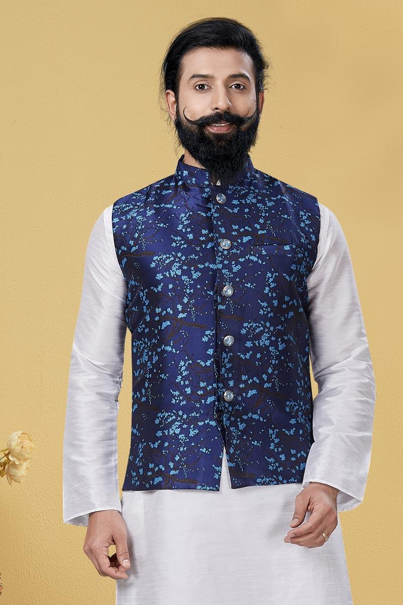 Navy Blue Color Art Silk Fabric Wedding Wear Designer Digital Print Jacket