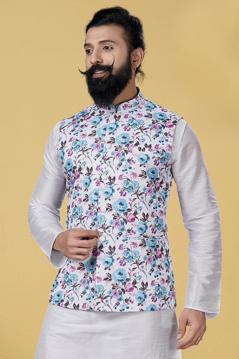 Off White Color Cotton Fabric Reception Wear Designer Digital Print Jacket