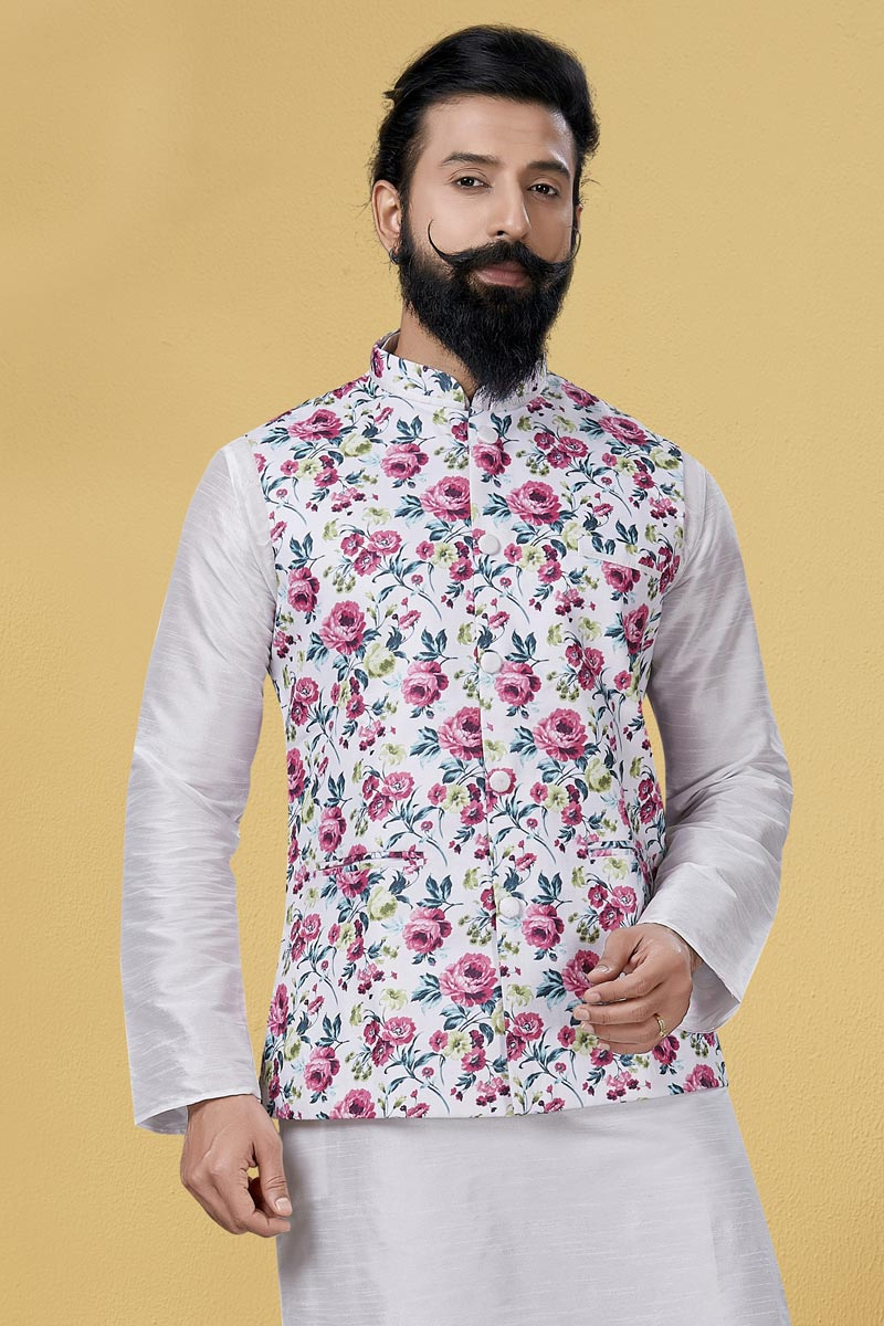 Off White Color Cotton Fabric Function Wear Designer Digital Print Jacket