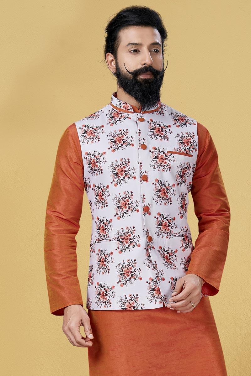 Off White Color Cotton Fabric Festive Wear Designer Digital Print Jacket