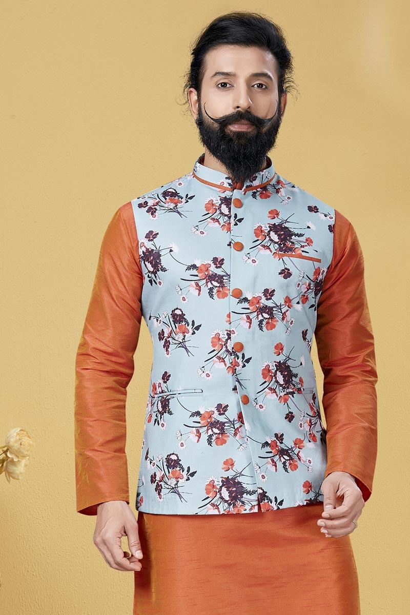 Light Cyan Color Cotton Fabric Puja Wear Designer Digital Print Jacket