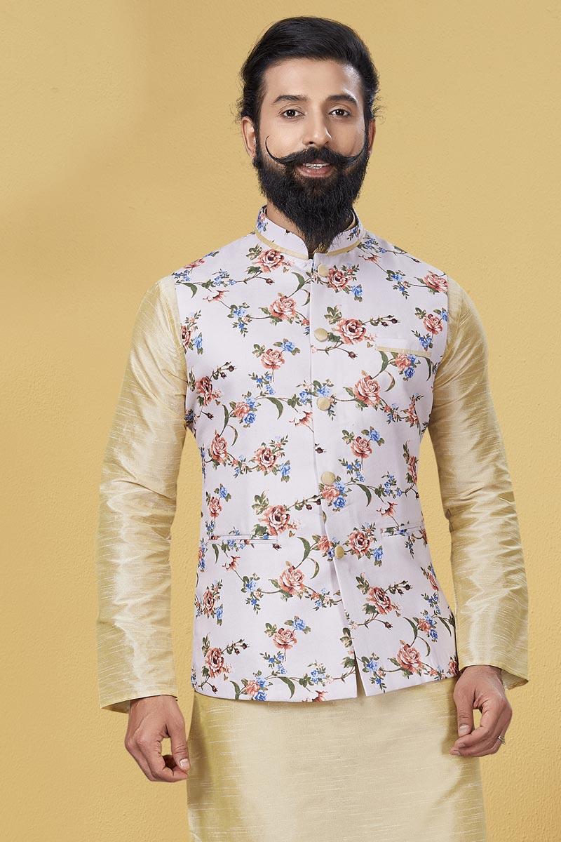 Off White Color Cotton Fabric Sangeet Wear Designer Digital Print Jacket