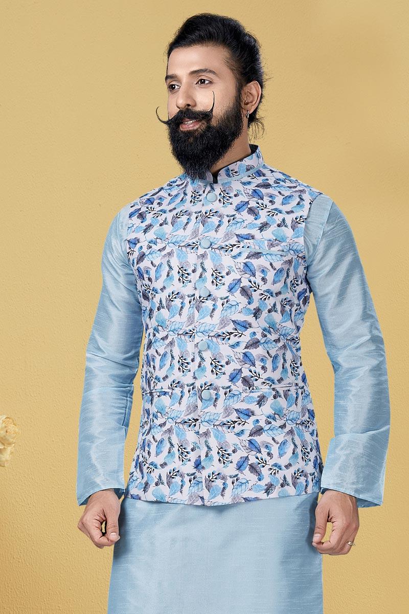 Light Cyan Color Cotton Fabric Wedding Wear Designer Digital Print Jacket