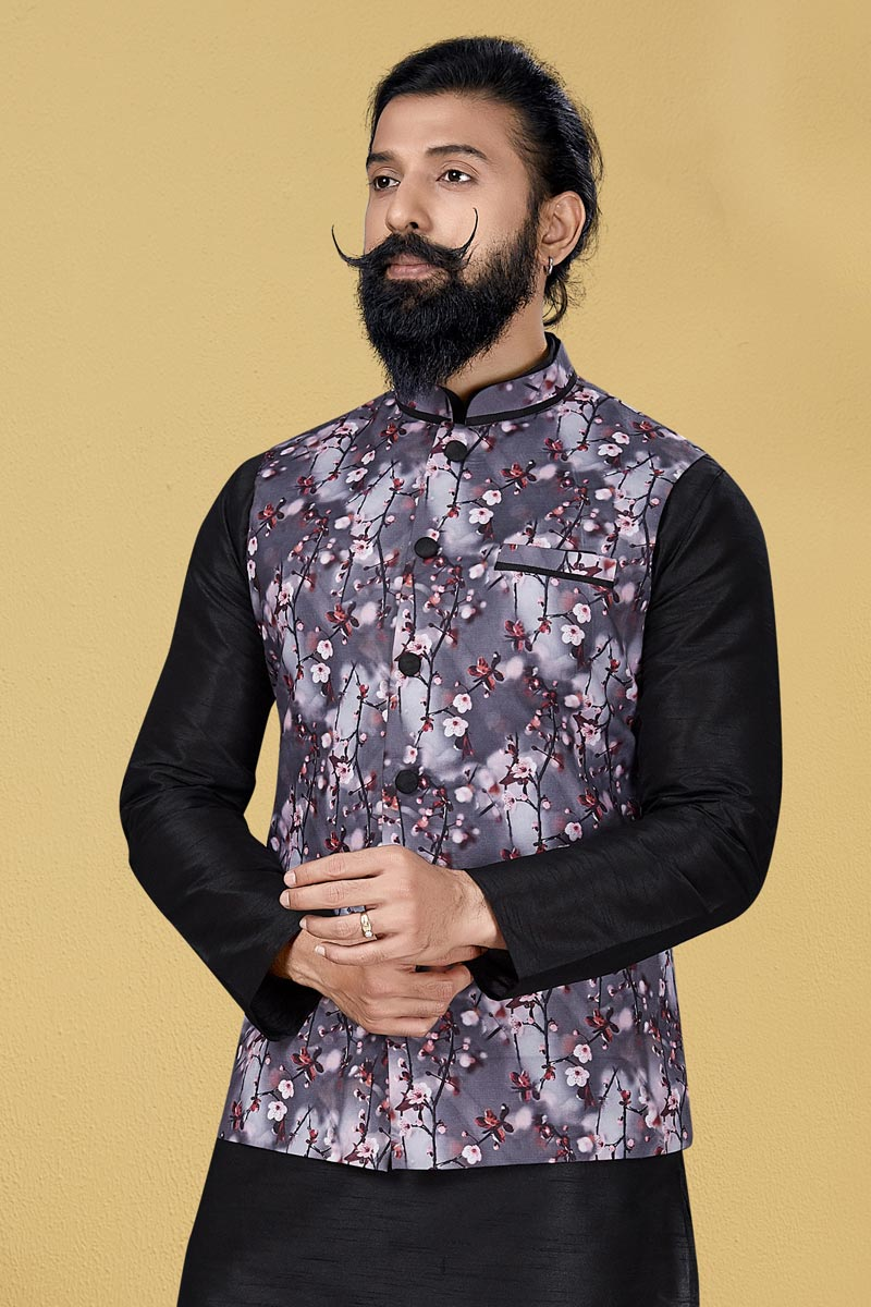 Grey Color Cotton Fabric Function Wear Designer Digital Print Jacket