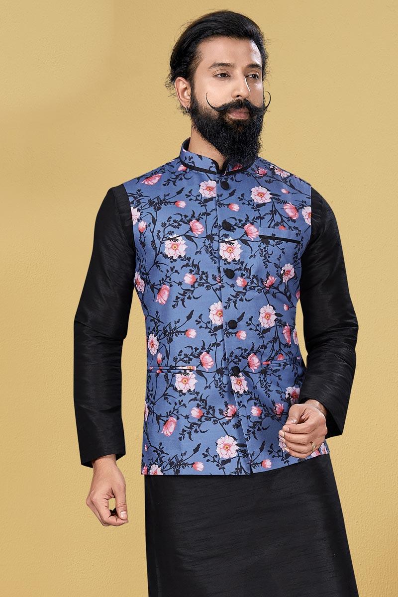 Blue Color Cotton Fabric Festive Wear Designer Digital Print Jacket