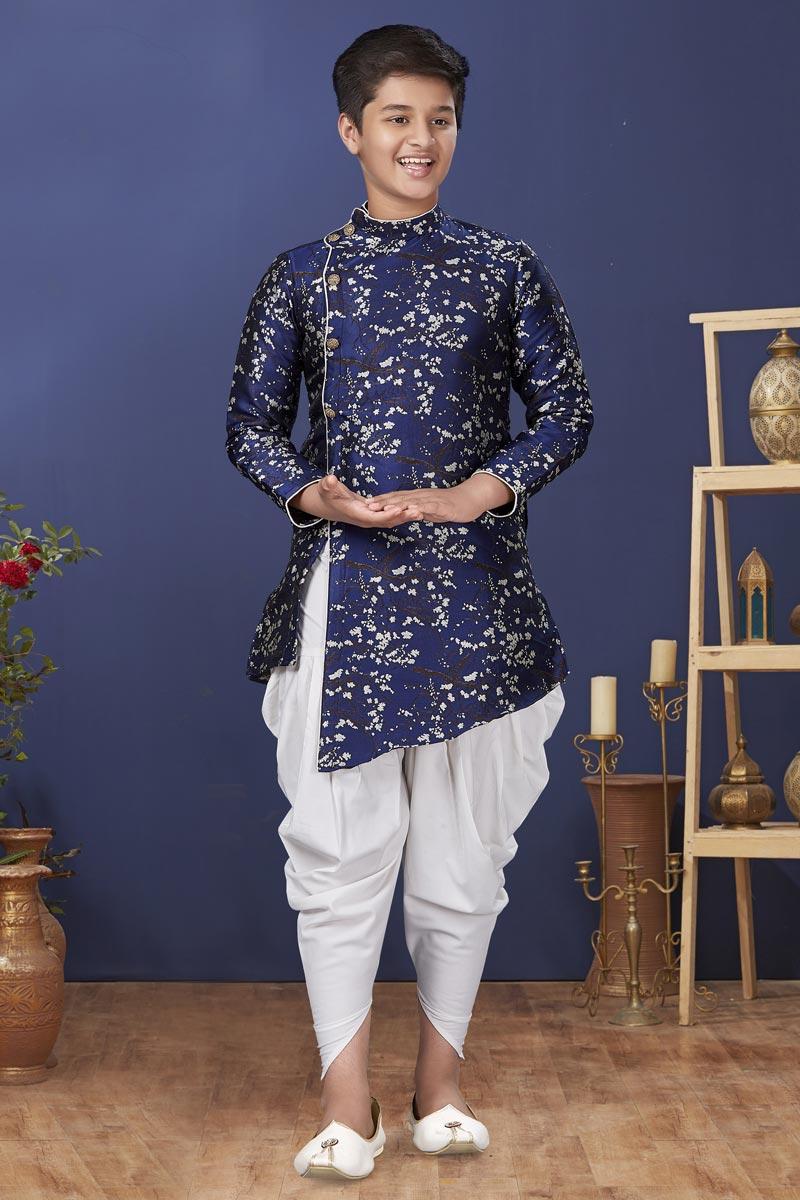 Navy Blue Color Jacquard Silk Fabric Function Wear Fancy Kids Wear Dhoti Style Kurta Pyjama