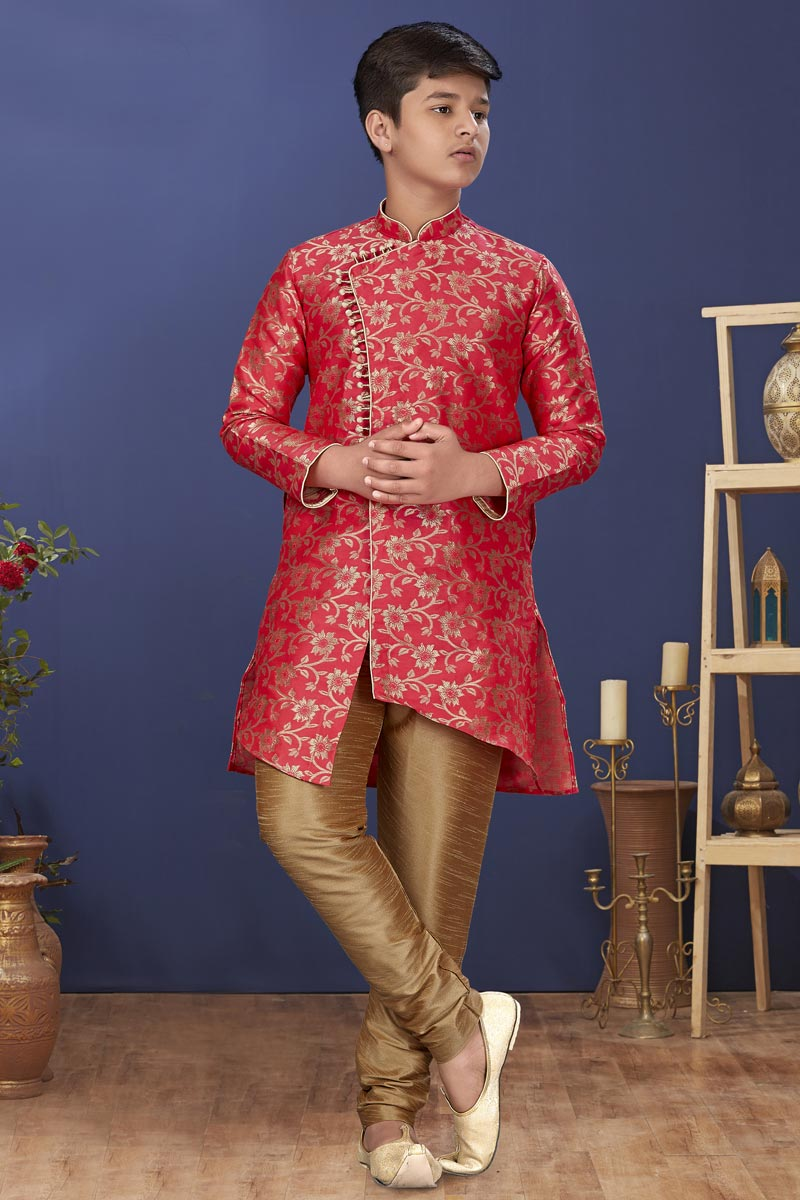 Pink Color Art Silk Fabric Festive Wear Stylish Kids Wear Kurta Pyjama