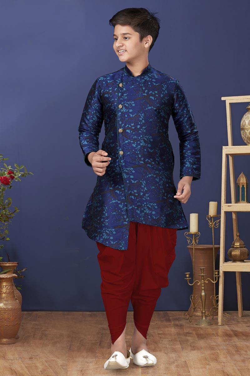 Navy Blue Color Jacquard Silk Fabric Sangeet Wear Trendy Kids Wear Dhoti Style Kurta Pyjama