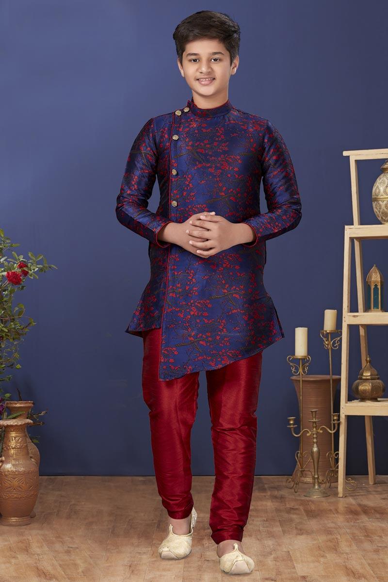 Navy Blue Color Art Silk Fabric Reception Wear Fancy Kids Wear Kurta Pyjama