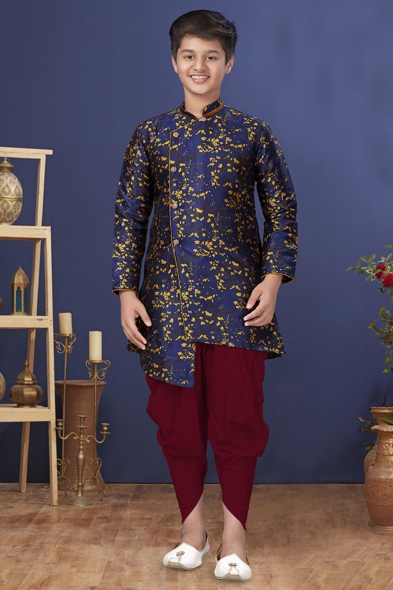 Navy Blue Color Art Silk Fabric Function Wear Fancy Kids Wear Dhoti Style Kurta Pyjama
