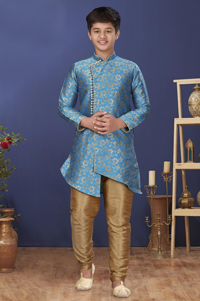 Sky Blue Color Art Silk Fabric Festive Wear Stylish Kids Wear Kurta Pyjama