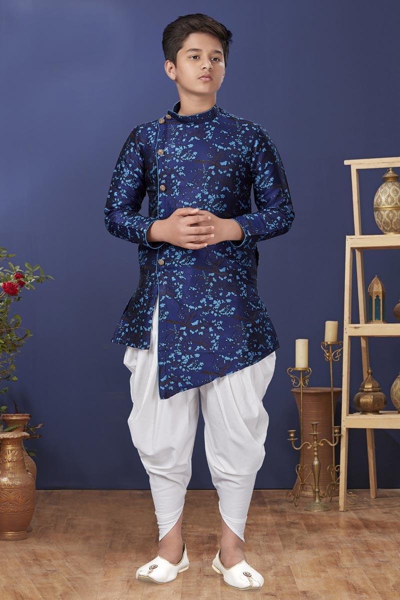 Jacquard Silk Fabric Sangeet Wear Trendy Kids Wear Dhoti Style Kurta Pyjama