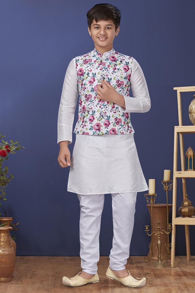 White Color Dhupion Silk Fabric Function Wear Fancy Kids Wear Kurta Pyjama With Jacket