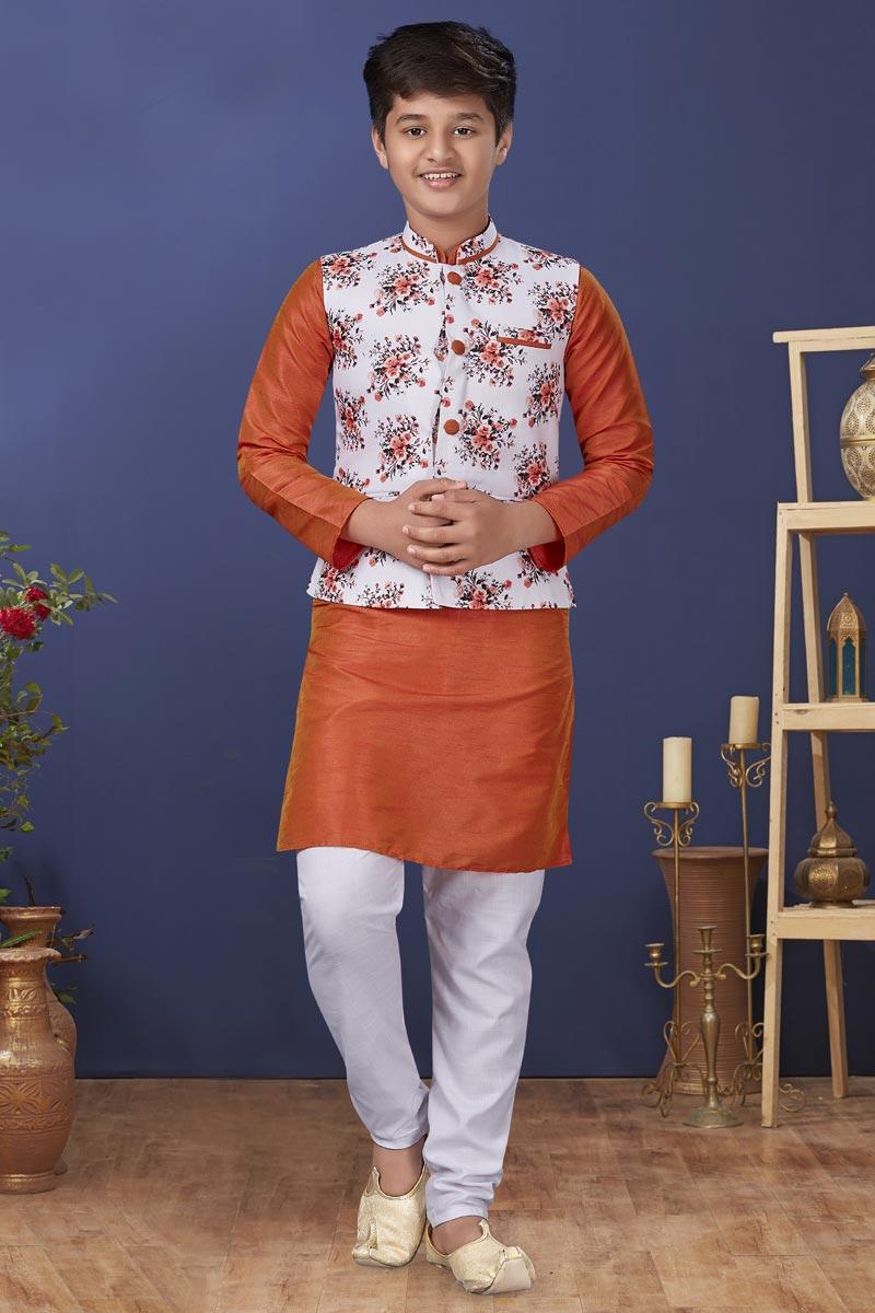 Orange Color Dhupion Silk Fabric Festive Wear Stylish Kids Wear Kurta Pyjama With Jacket