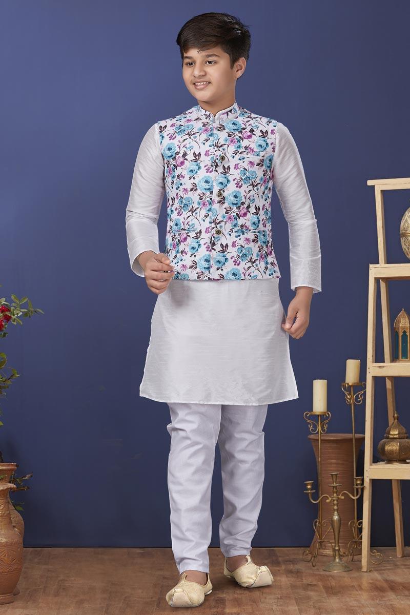White Color Dhupion Silk Fabric Sangeet Wear Trendy Kids Wear Kurta Pyjama With Jacket