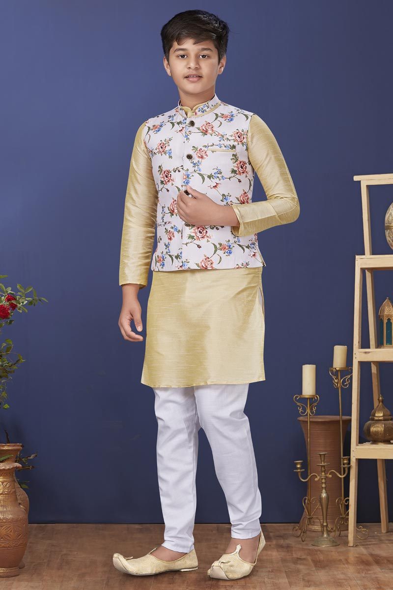 Beige Color Dhupion Silk Fabric Reception Wear Fancy Kids Wear Kurta Pyjama With Jacket