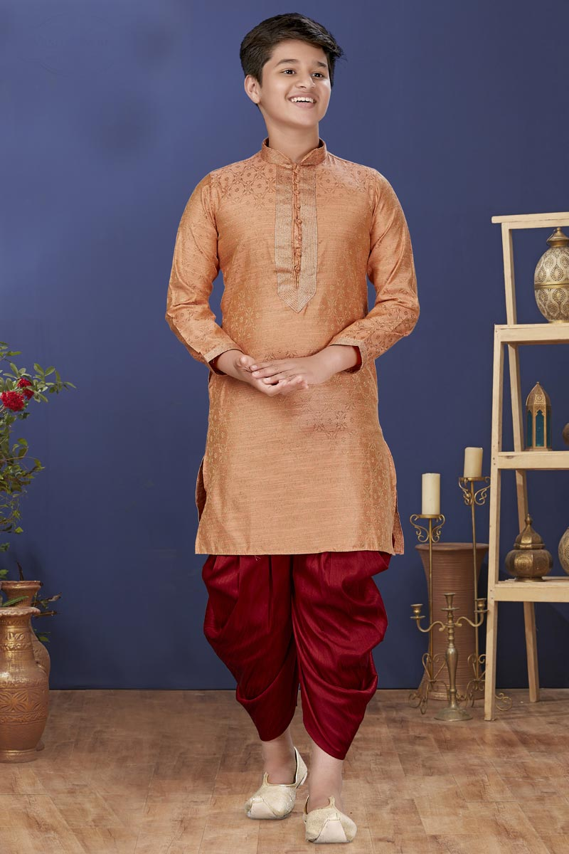 Peach Color Jacquard Silk Fabric Function Wear Fancy Kids Wear Dhoti Style Kurta Pyjama