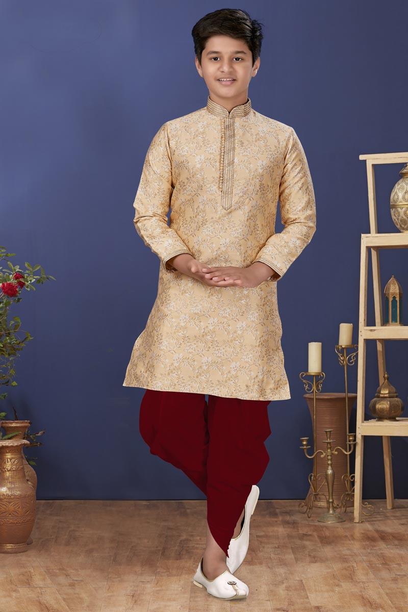 Beige Color Jacquard Silk Fabric Festive Wear Stylish Kids Wear Dhoti Style Kurta Pyjama