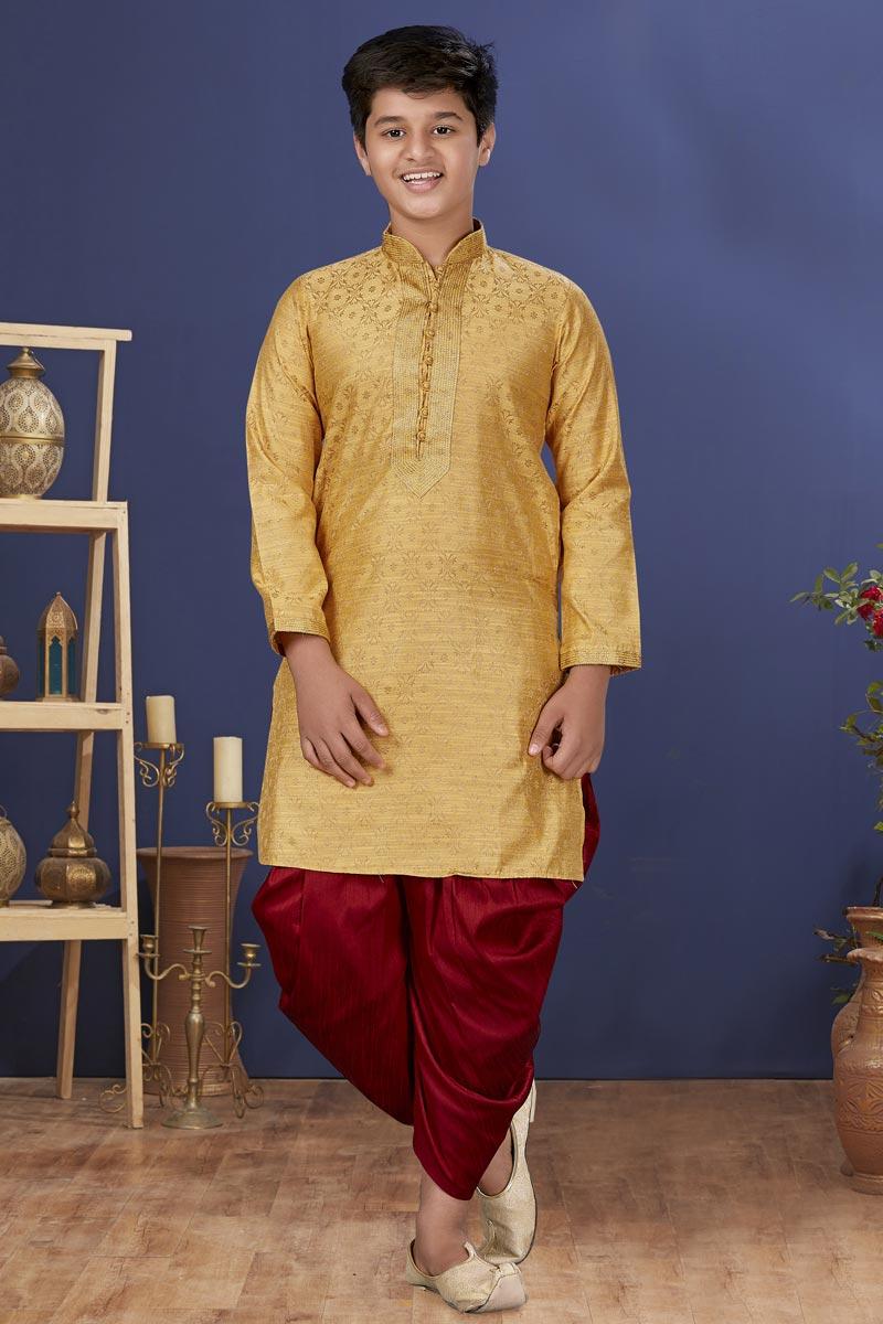 Golden Color Jacquard Silk Fabric Sangeet Wear Trendy Kids Wear Dhoti Style Kurta Pyjama
