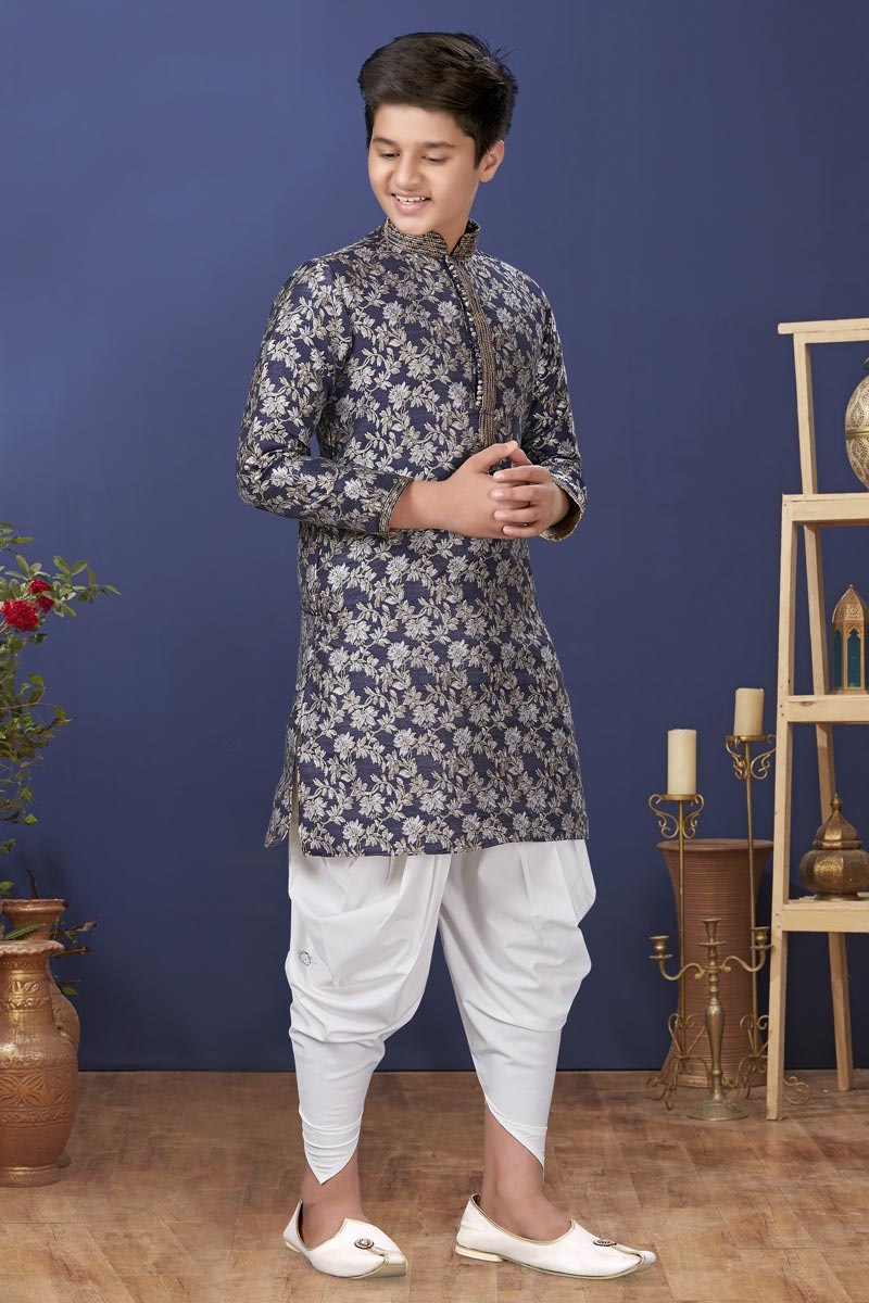Navy Blue Color Jacquard Silk Fabric Wedding Wear Designer Kids Wear Dhoti Style Kurta Pyjama
