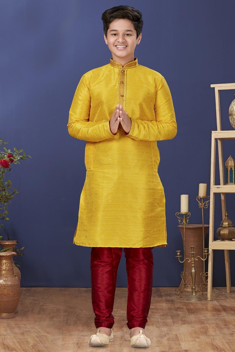 Yellow Color Art Silk Fabric Reception Wear Fancy Kids Wear Kurta Pyjama