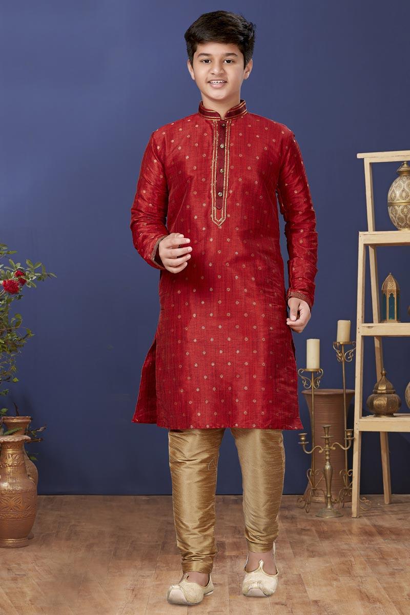 Maroon Color Art Silk Fabric Function Wear Fancy Kids Wear Kurta Pyjama