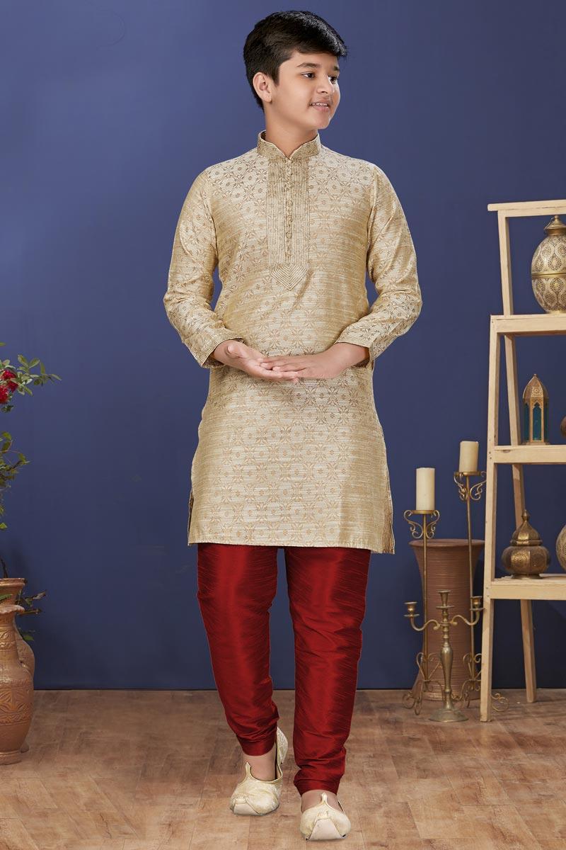 Beige Color Jacquard Silk Fabric Festive Wear Stylish Kids Wear Kurta Pyjama