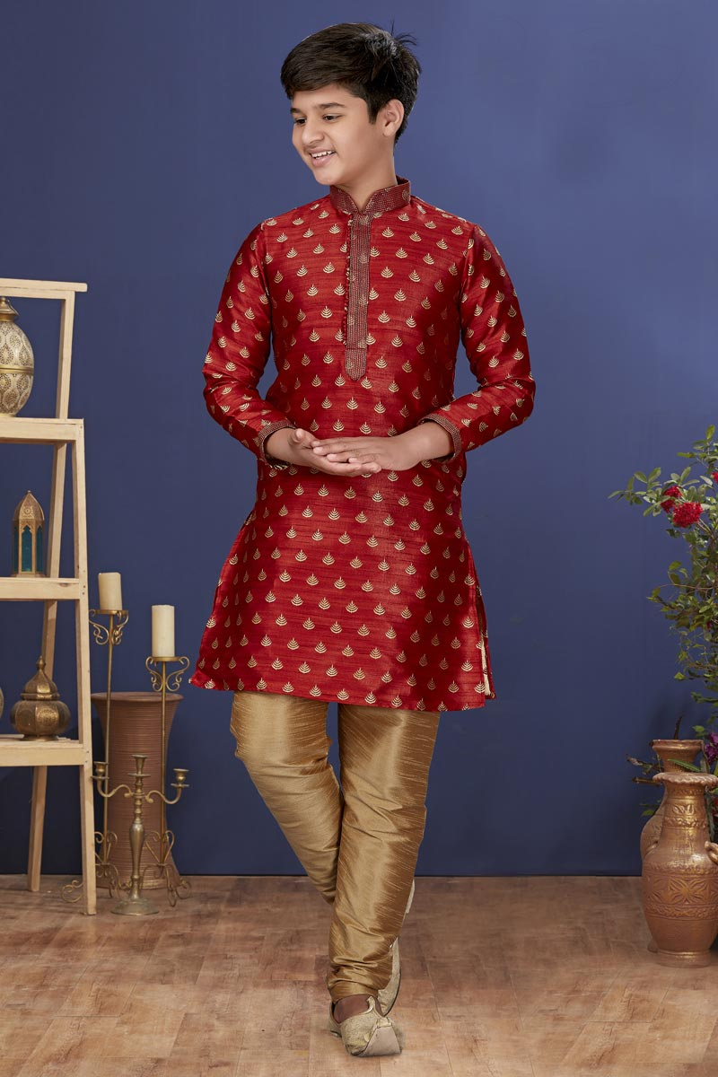 Maroon Color Jacquard Silk Fabric Sangeet Wear Trendy Kids Wear Kurta Pyjama