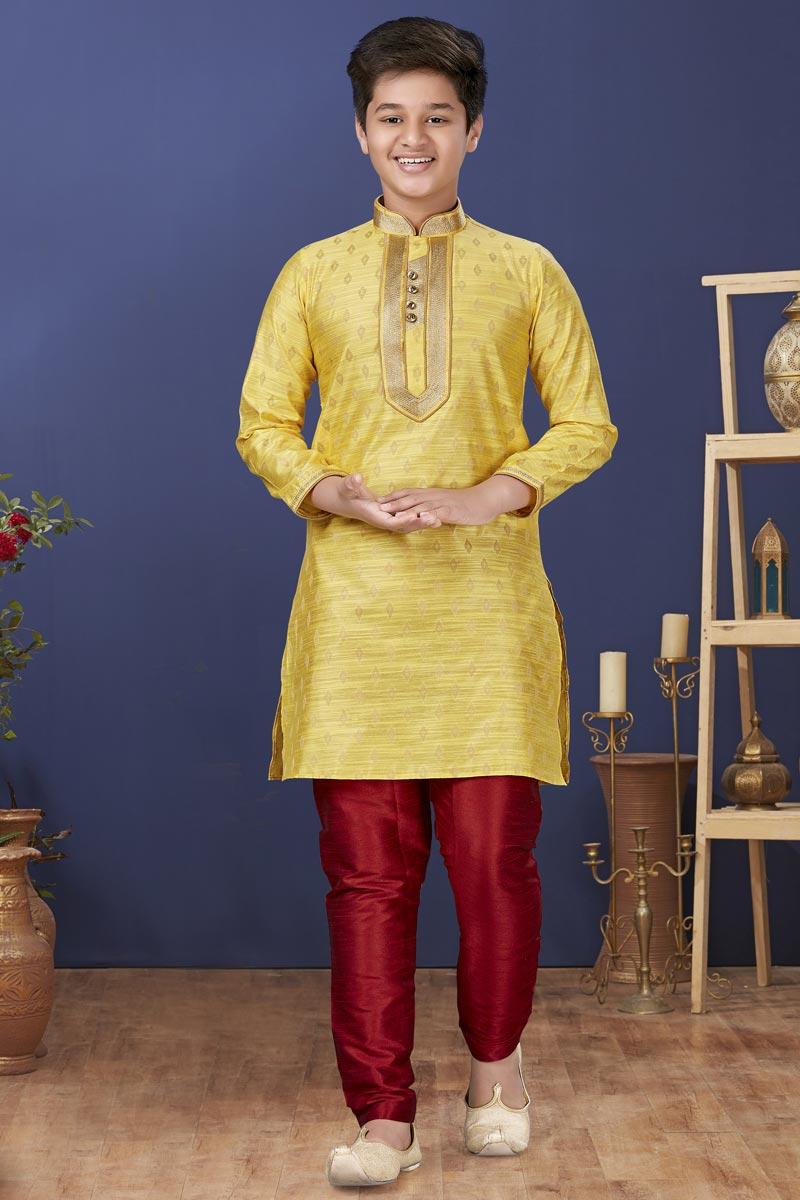 Yellow Color Jacquard Silk Fabric Wedding Wear Designer Kids Wear Kurta Pyjama