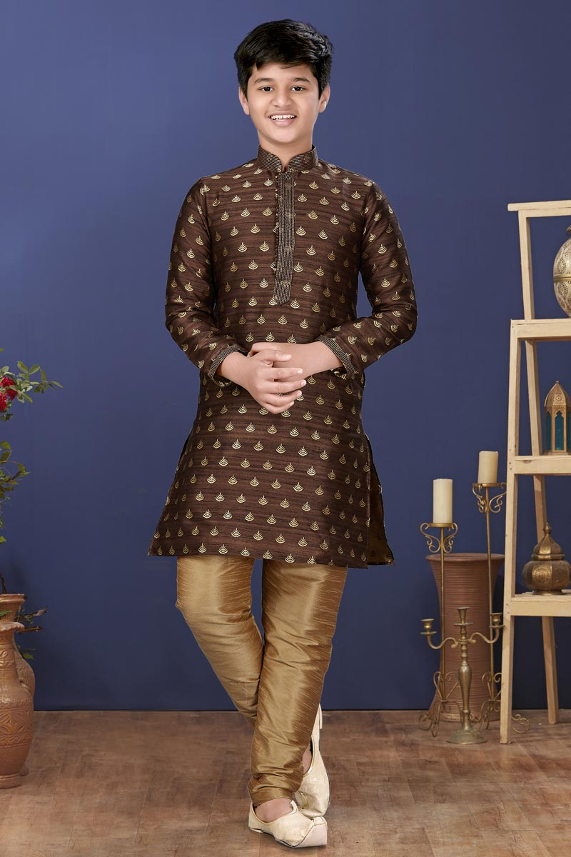Brown Color Jacquard Silk Fabric Reception Wear Fancy Kids Wear Kurta Pyjama