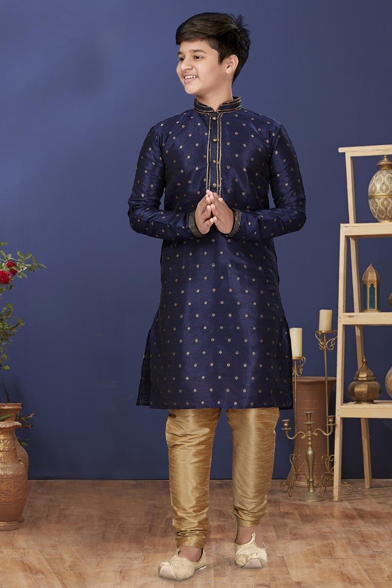 Navy Blue Color Art Silk Fabric Function Wear Fancy Kids Wear Kurta Pyjama