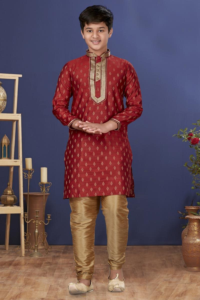 Maroon Color Jacquard Silk Fabric Festive Wear Stylish Kids Wear Kurta Pyjama