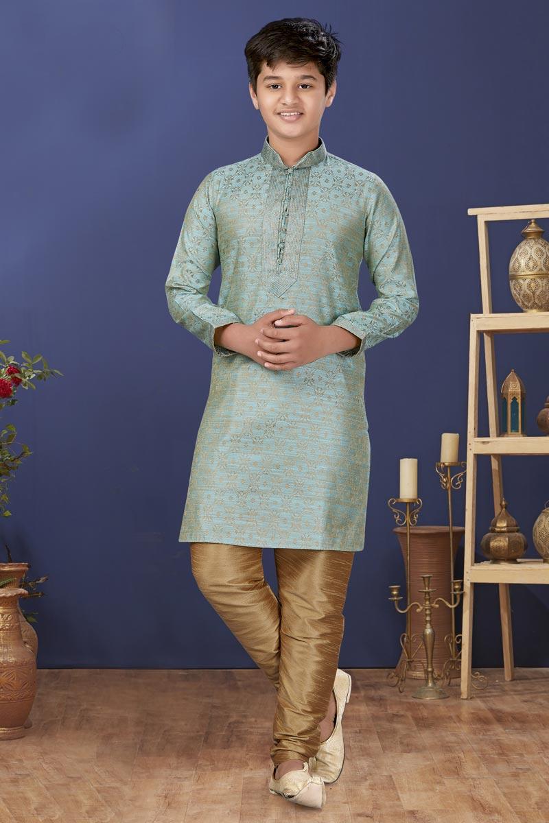 Cyan Color Jacquard Silk Fabric Sangeet Wear Trendy Kids Wear Kurta Pyjama