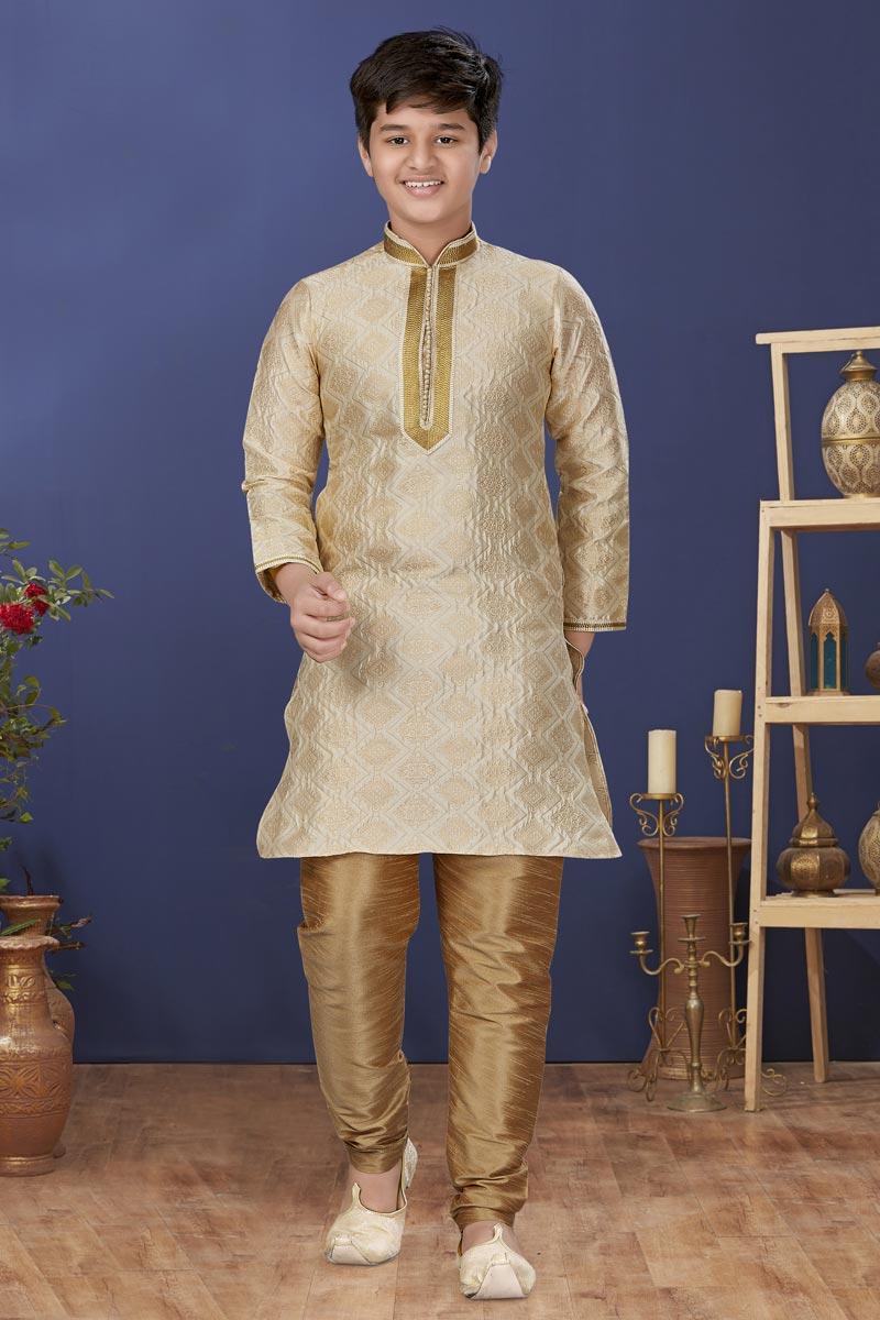 Beige Color Jacquard Silk Fabric Wedding Wear Designer Kids Wear Kurta Pyjama